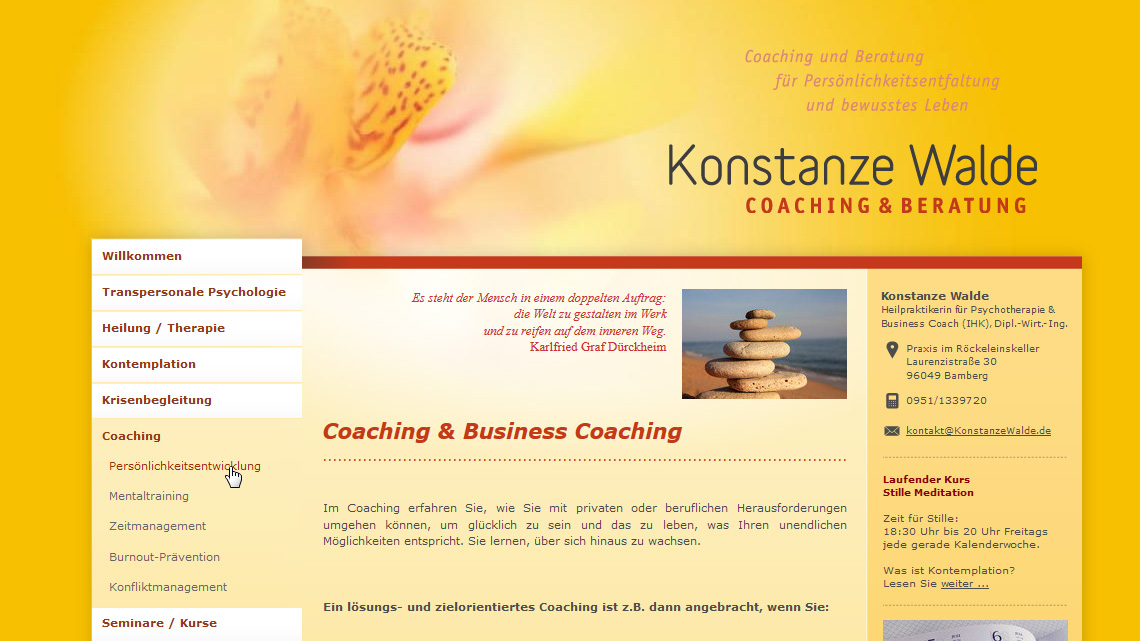 Website von Konstanze Walde | Coaching & Beratung in Bamberg