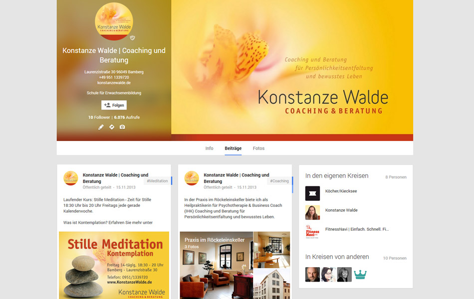 Social Media-Kanäle im einheitlichen Design von Konstanze Walde | Coaching & Beratung