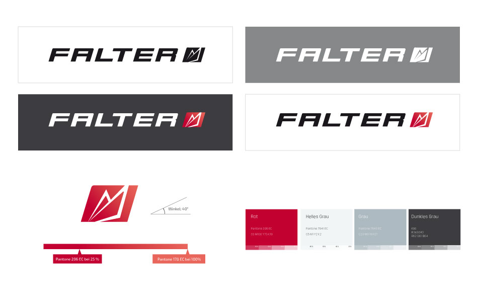 Brand Design-Factsheet der Traditionsmarke Falter