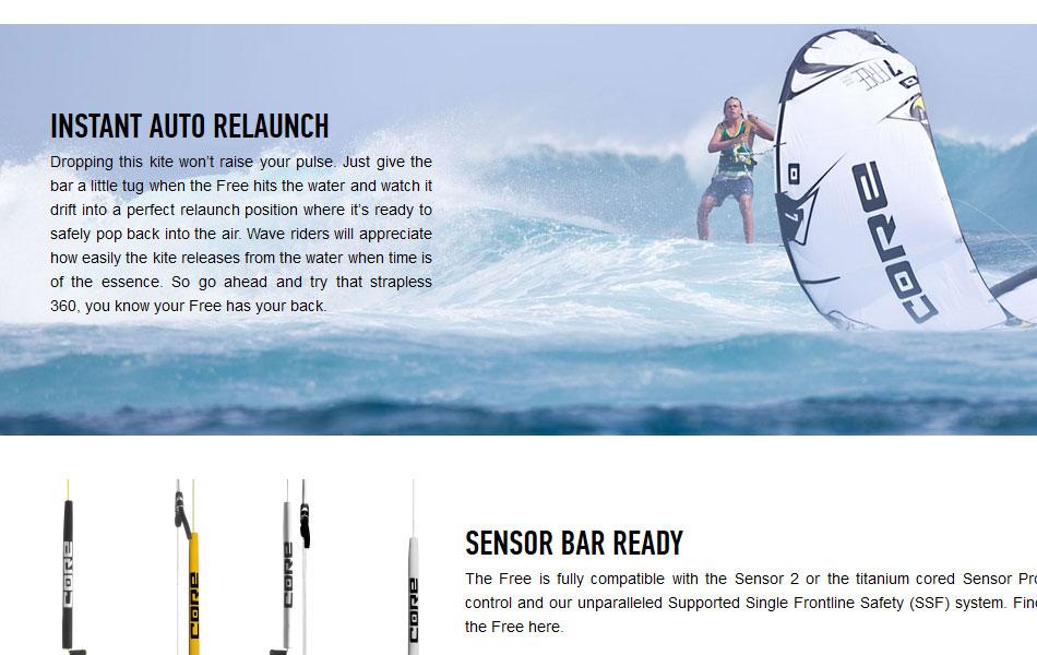Detail der FREE-Produktwebsite für CORE Kiteboarding