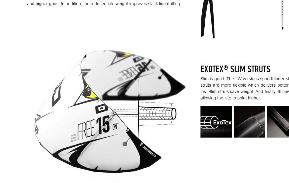 Detail der FREE LW-Produktwebsite für CORE Kiteboarding