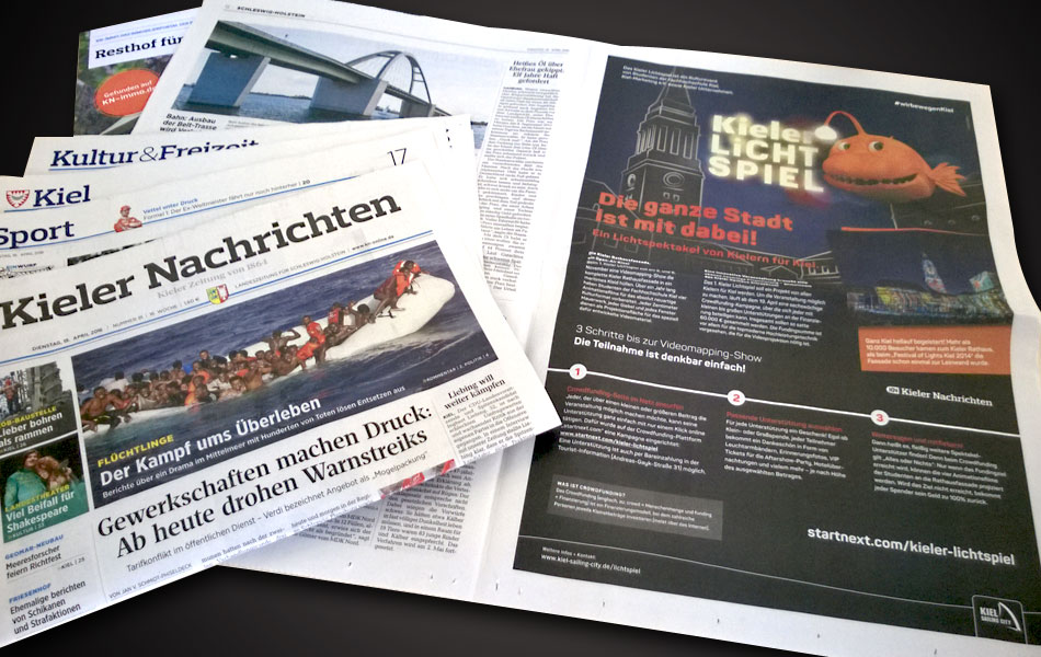 Vollseite Anzeige in den Kieler Nachrichten zum Start der Crowdfunding-Kampagne am 19. April 2016