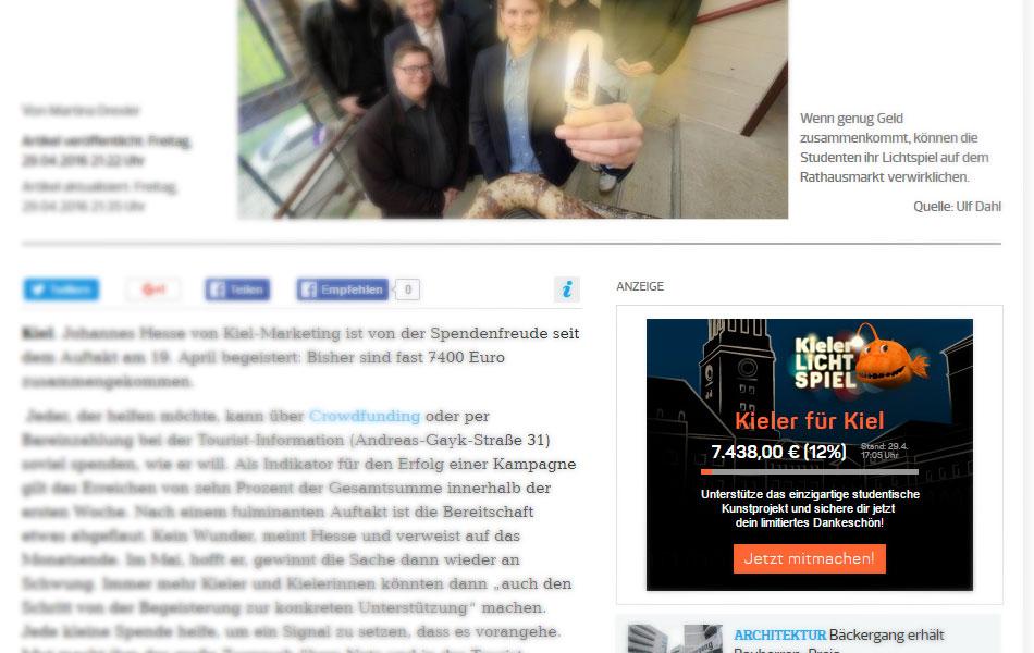 Status-Widget der Crowdfunding-Kampagne zum Kieler Lichtspiel