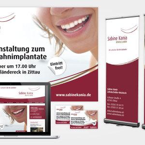 Kampagnenelemente für Infoveranstaltungsreihen des Zittauer Dental-Labor Sabine Kania