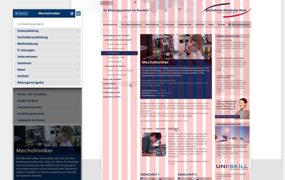 Responsive Webdesign-Konzept der Website www.t-a-nord.de